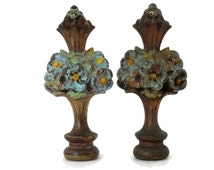 Pair Flower Basket Lamp Finials by Aladdin with  Original Paint