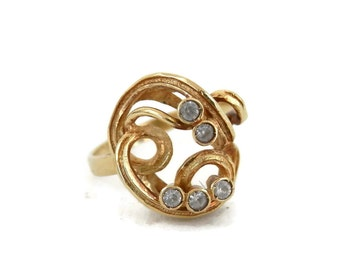 14K Gold Ring Modernist Spiral Ring with Bezel Cut Diamonds