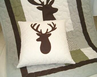 Deer Baby Blanket, Baby Deer Blanket, Woodland Baby Blanket, Reindeer Baby Blanket, Hunting Baby Blanket, Chevron Toddler Quilt