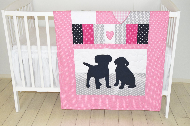 Puppy Baby Quilt Dog Nursery Blanket Baby Girl Quilt