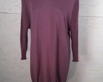 Stretchy oversized purple vintage 80s shirt dress