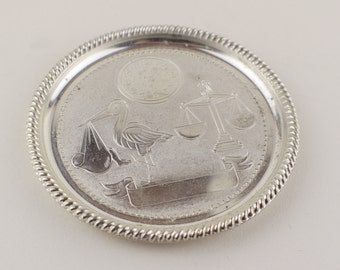 Unused Seba Christening Trinket Round Tray Silver Plated Made in England Crane and Scales