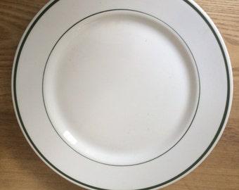 "Two (2) Shenango China Restaurant Ware Dinner Plates, Shenango China, Rim Rol, Diner Ware 9"" Dinner Plates, 2 Green Stripe"