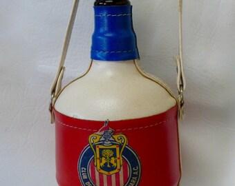 Vintage Decanter Chivas Guadalajara Club Deportivo Mexico Bottle Carrier Futbol Soccer Souvenir Tequila Bottle