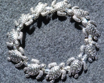 Pewter stretchy bracelet. most sizes available