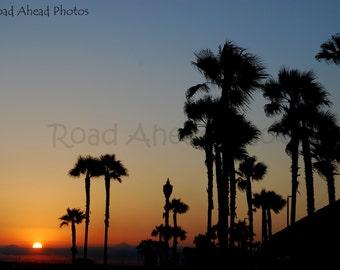 8 x 10 matted photograph Huntington Beach Sunset