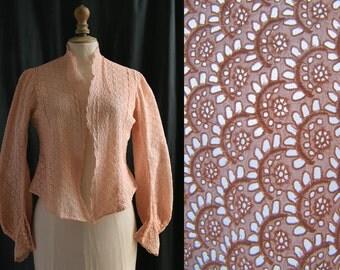 Antique blouse,hand stitched, powder color, embroidery, cotton, 1900's