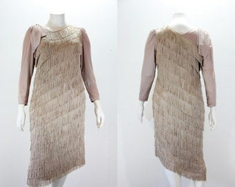 XL Vintage Dress - 1980s Fringed Dress