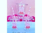 24 - Peppa Pig Party Cups  with Lids and Straws