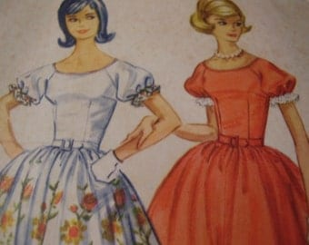 Vintage 1960's McCall's 5731 Dress with Attached Petticoat Sewing Pattern, Size 12, Bust 32