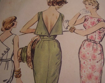 Vintage 1950's McCall's 4528 Dress Sewing Pattern, Size 14, Bust 34