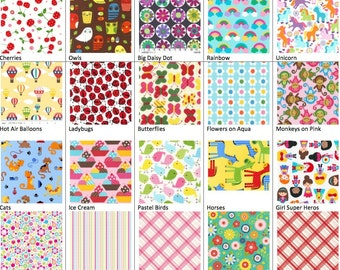 Girly Fabrics for Reusable Sandwich & Snack Bags with Zipper Closure