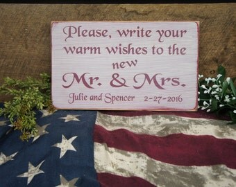 Please, write your warm wishes to the new Mr.& Mrs. Rustic Guest Book Wedding Sign Personalized with Bride Groom Names and Date Reception