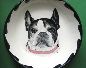 "Pet Portrait Bowl-12"". Your Cat or Dog handpainted on bowl"