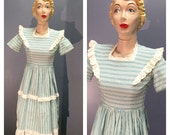 RESERVED~ EYELET LACE Pinafore 1930's Vintage 1930s Turquoise & White Deadstock Striped House Day Dress w Square Neckline, Button Back Xs S
