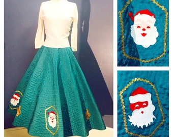 CHRISTMAS Santa Claus Vintage 1950's 50s Emerald Green Quilted ORIGINAL Circle Skirt by Joan Roberts of California Sequined Appliques S M
