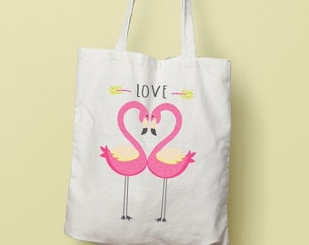 LOVE Flamingos Tote Bag