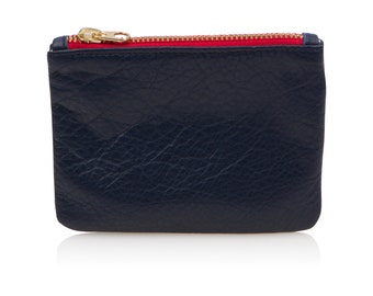 Navy blue leather pouch, leather coin purse, navy credit card holder