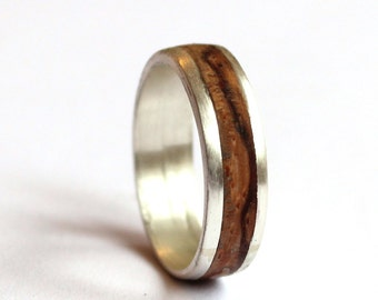 Mens ring, Zebrano Wood Ring, Women band, Sterling Silver Wedding Ring with Wood Inlay