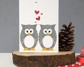 Mr And Mrs Owl Wedding Anniversary And Valentines Card- Engagement Card- Love Him Card-Love her Card-Wedding Card-Anniversary Card-UK Seller