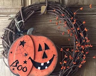 Halloween pumpkin grapevine wreath - fall wreath - handmade - pumpkin - grapevine wreath -primitive door wreath - halloween - jack o lantern