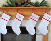 Personalized Christmas Stocking in Red and Quilted White or Choose Your Own