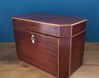 Antique George III Twin Compartment Partridge Wood Tea Caddy c1790