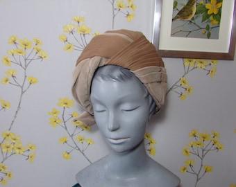 1960s Vintage Turban Light Beige Moccha Pleated Nylon And Velour Hat Mitzi Boutique L