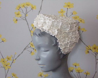 Vintage 1950s  Bridal Headpiece White Embroidered Floral Bridal Piece Ethereal Flowers with Rhinestones