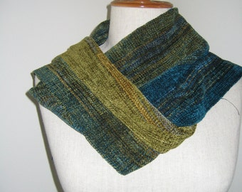 Green and Teal Chenille scarf