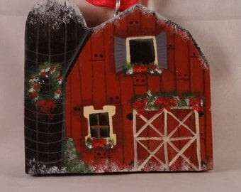 Handpainted Wooden Barn Ornament