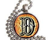 "Letter ""D"" Art Pendant, Alphabet Resin Pendant, Vintage Initial  Photo, Silver Nickel Coin Charm Necklace"