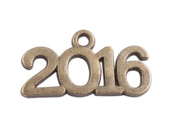 BULK 20 pieces - 2016 year charm pendant - Class of 2016 charm, Gold, Bronze, Silver -  RTS - Ready to ship