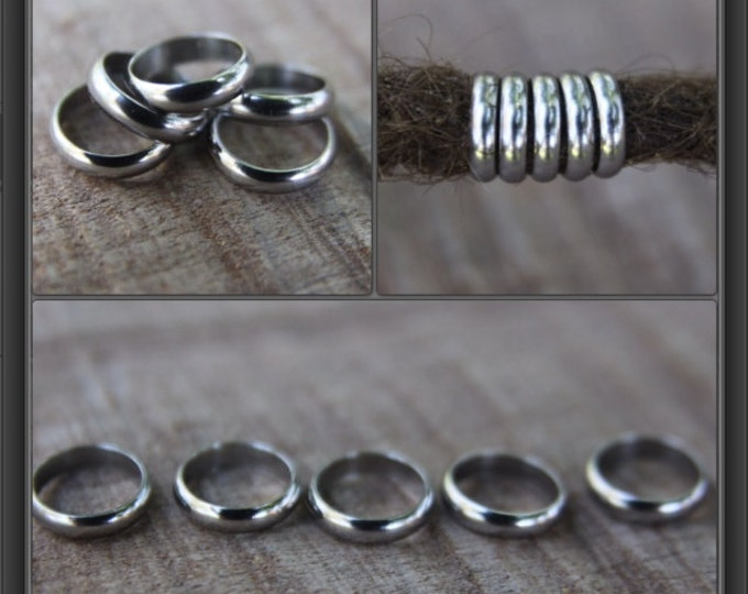 10 Stainless Steel Rings Dreadlock Beads 8mm 5/16 inch Hole