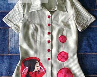 Pucca shirt, gingham shirt, women's shirt, short sleeves, spring, summer