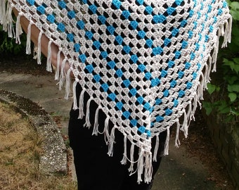Hand Crocheted, Striped Poncho with Fringe:  Teal, Multi-Colored Cream, 100% Cotton