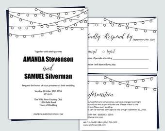 Wedding Invitation Template | String lights | Summer lights | DIY Printable Instant Download | PDF editable text