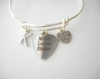 Wedding Gift Sister How Much : Much Loved Sister, I Love You- Initial Bangle/ Wedding gift, sisters ...