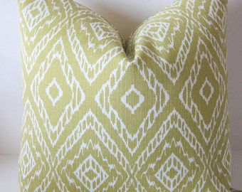 Ikat Diamond Pillow, Decorative Pillows, Diamond Pillow Cover, Citron Pillow Cover, Yellow Pillows, Robert Allen Baja Diamond