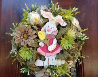 Wooden Bunny Burlap and Mesh Wreath