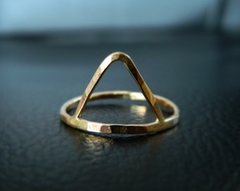 Triangle Ring, Stacked Ring, Gold Trinity Ring, Geometric Ring