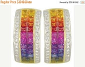 Valentines Day Sale Multicolor Rainbow Sapphire & Diamond Invisible Set Huggie Earrings 14K Yellow Gold (8.75ct tw) SKU: 1534-14K-Yg