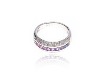 Multicolor Pink to Purple Sapphire & Diamond Invisible Set Ring 18K Gold (1.62ct tw): SKU 22686