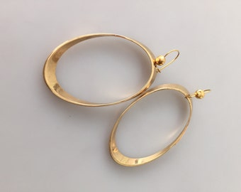 1970s Vintage HOOP Pierced EARRINGS Gold Plated OVERSIZED Never Worn Deadstock