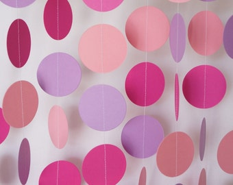 Pink and Purple Birthday Party Decoration, Pink Baby Shower, Baby's First Birthday Party, Circle Garland, Pink Dot Party, 10 ft. long