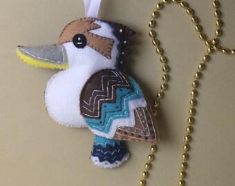 Hand Embroidered Kookaburra Felt Plushie Ornament - Made to Order