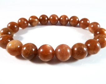 Sunstone Stretch Bracelet Golden Smooth Round Beads 10mm Glow Flash