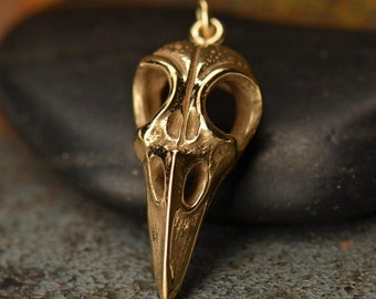 Natural Bronze Bird Skull Charm