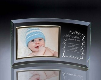Engraved Curved Glass Photo Frame for Baby