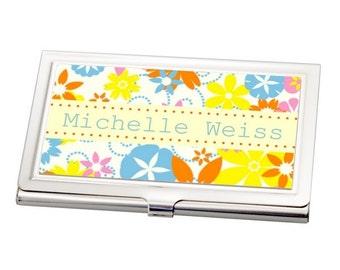 Customized Springtime Flowers Business Card Case